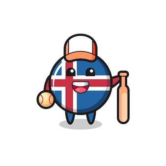 Personaggio dei cartoni animati della bandiera islandese come giocatore di baseball, design carino