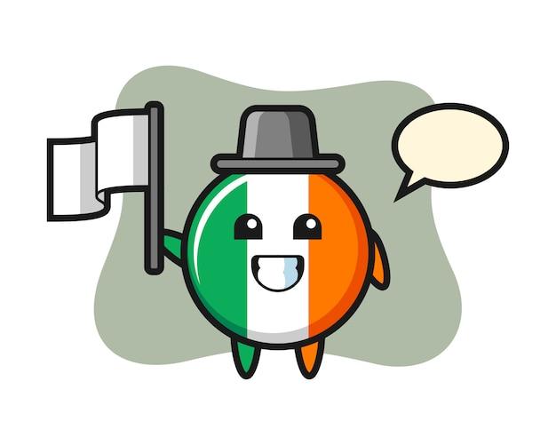 Personaggio dei cartoni animati del distintivo della bandiera dell'irlanda che tiene una bandiera