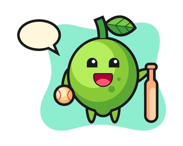 Personaggio dei cartoni animati di lime personaggio dei cartoni animati di lime come giocatore di baseball, stile carino, adesivo, elemento del logo