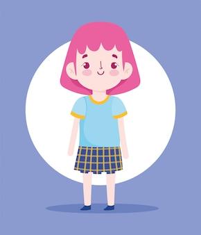 Personaggio dei cartoni animati bambina pupilla uniforme scolastica gonna illustrazione vettoriale