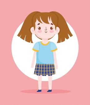 Personaggio dei cartoni animati bambina pupilla uniforme scolastica illustrazione vettoriale