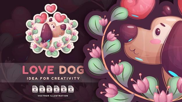 Cane animale di amore del personaggio dei cartoni animati. vettore eps 10