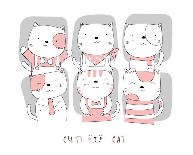 Personaggio dei cartoni animati gli adorabili cuccioli di gatto. stile disegnato a mano.