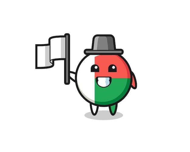Personaggio dei cartoni animati del distintivo della bandiera del madagascar che tiene una bandiera, design carino