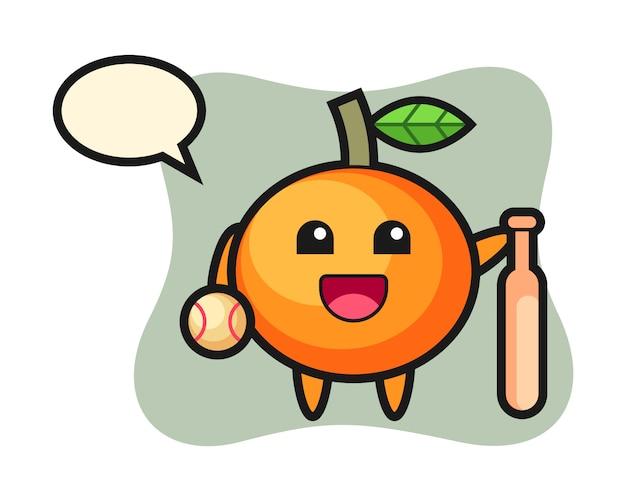 Personaggio dei cartoni animati di mandarino come giocatore di baseball, stile carino, adesivo, elemento del logo