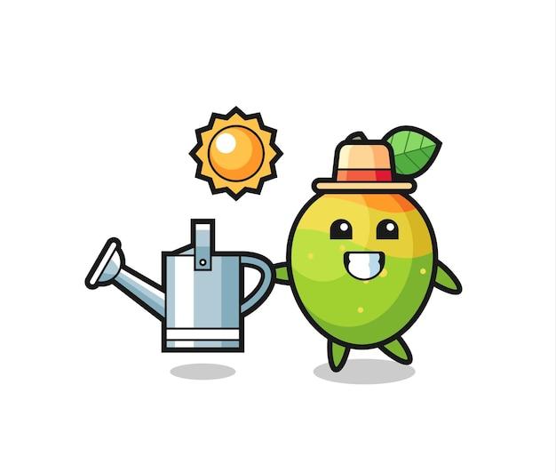 Personaggio dei cartoni animati di mango che tiene annaffiatoio, design in stile carino per maglietta, adesivo, elemento logo