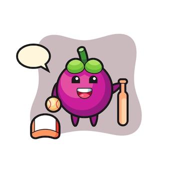 Personaggio dei cartoni animati di mangostano come giocatore di baseball, design in stile carino per maglietta, adesivo, elemento logo