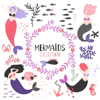 Personaggio dei cartoni animati sirene e pesci
