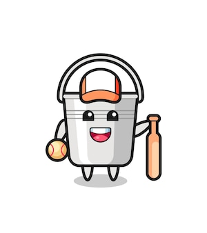 Personaggio dei cartoni animati di secchio di metallo come giocatore di baseball, design in stile carino per maglietta, adesivo, elemento logo