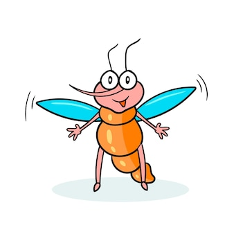 Il contorno nero della zanzara del personaggio dei cartoni animati sorride vuole l'abbraccio