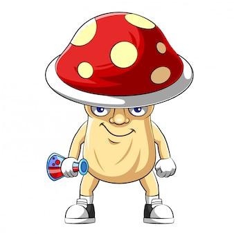 Personaggio dei cartoni animati di un fungo dell'illustrazione