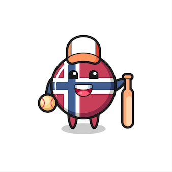 Personaggio dei cartoni animati del distintivo della bandiera della norvegia come giocatore di baseball, design in stile carino per maglietta, adesivo, elemento logo