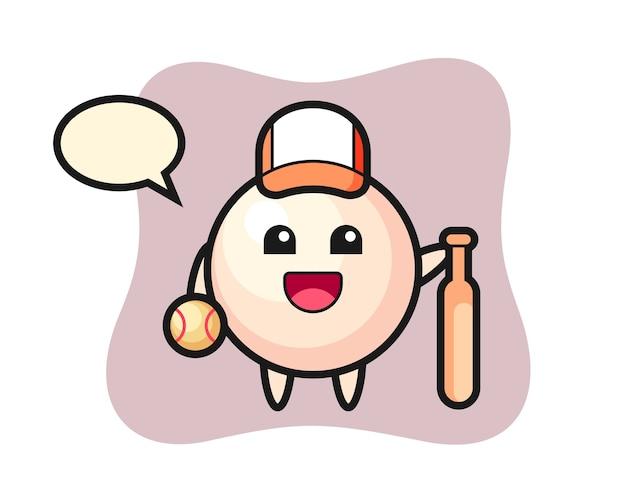 Personaggio dei cartoni animati di perla come giocatore di baseball