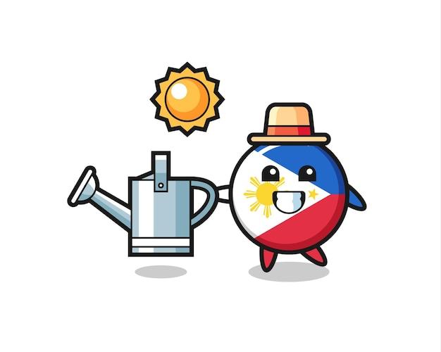 Personaggio dei cartoni animati del distintivo della bandiera delle filippine che tiene annaffiatoio, design in stile carino per t-shirt, adesivo, elemento logo