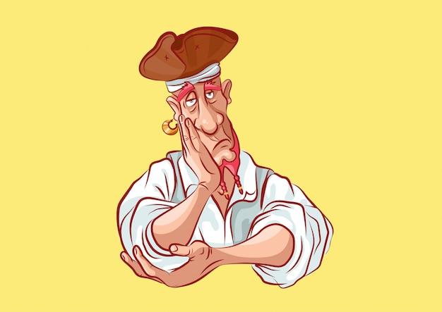 Personaggio dei cartoni animati pirata mascotte manca solo annoiato