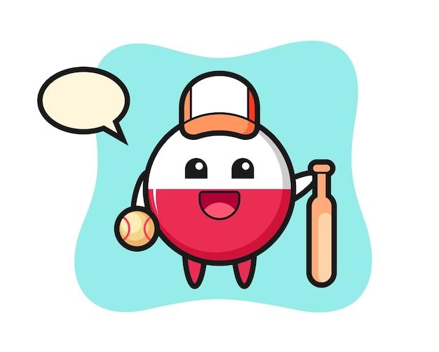Personaggio dei cartoni animati del distintivo della bandiera della polonia come giocatore di baseball