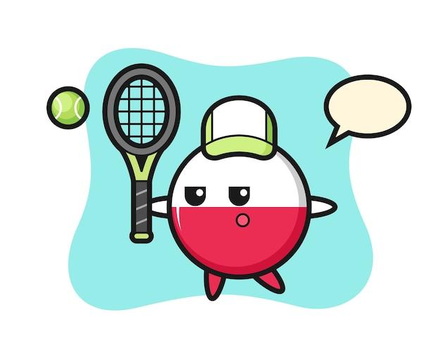 Personaggio dei cartoni animati del distintivo della bandiera della polonia come giocatore di tennis