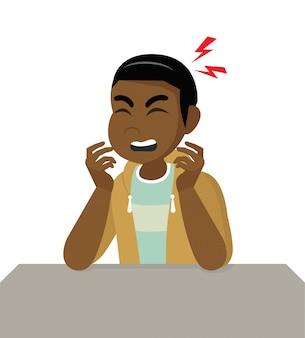 Personaggio dei cartoni animati posa, uomo africano con mal di testa, malattia della testa, tenendo la testa emicrania, problemi di salute, dolore alla testa, stress lavoro, stanco, soffrire, emozione, mal di testa, frustrato.