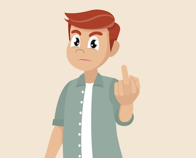 Personaggio dei cartoni animati pone, l'uomo sta mostrando il dito medio. gesto osceno. Vettore Premium