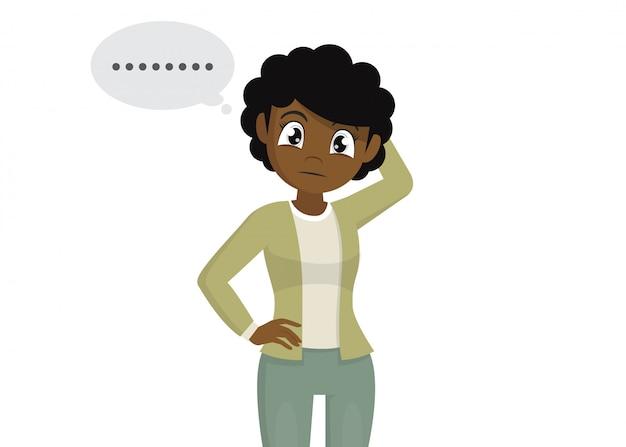 Posa del personaggio dei cartoni animati, gesto pensieroso della testa di giovane donna africana che graffia ed espressione facciale dimentica.