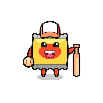 Personaggio dei cartoni animati di snack come giocatore di baseball, design in stile carino per maglietta, adesivo, elemento logo
