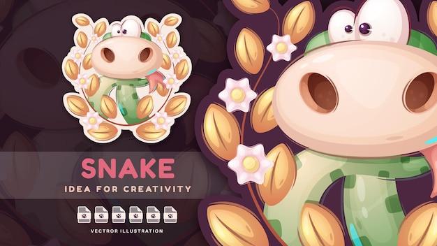 Serpente personaggio dei cartoni animati nella foresta