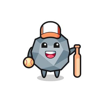 Personaggio dei cartoni animati di pietra come giocatore di baseball, design in stile carino per maglietta, adesivo, elemento logo