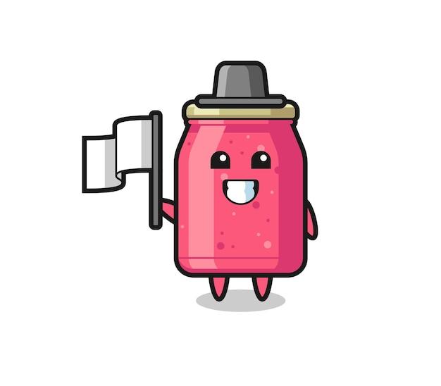 Personaggio dei cartoni animati di marmellata di fragole che tiene una bandiera, design carino