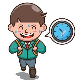 Personaggio dei cartoni animati di studente in ritardo a scuola. vettore gratuito
