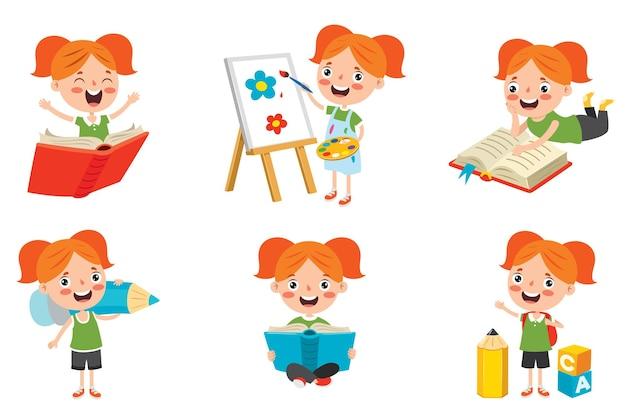 Personaggio dei cartoni animati studiando e imparando