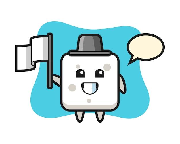 Personaggio dei cartoni animati di zolletta di zucchero che tiene una bandiera, stile carino per t-shirt, adesivo, elemento logo