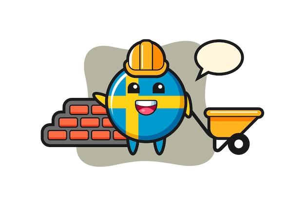 Personaggio dei cartoni animati del distintivo della bandiera della svezia come costruttore, design in stile carino per maglietta, adesivo, elemento logo