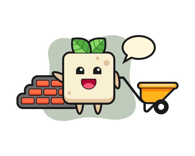 Personaggio dei cartoni animati del tofu come costruttore, design in stile carino per maglietta
