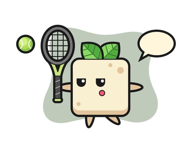 Personaggio dei cartoni animati del tofu come tennista, design in stile carino per maglietta