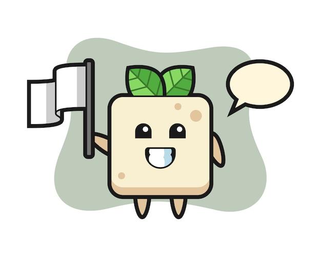 Personaggio dei cartoni animati di tofu che tiene una bandiera, design in stile carino per t-shirt