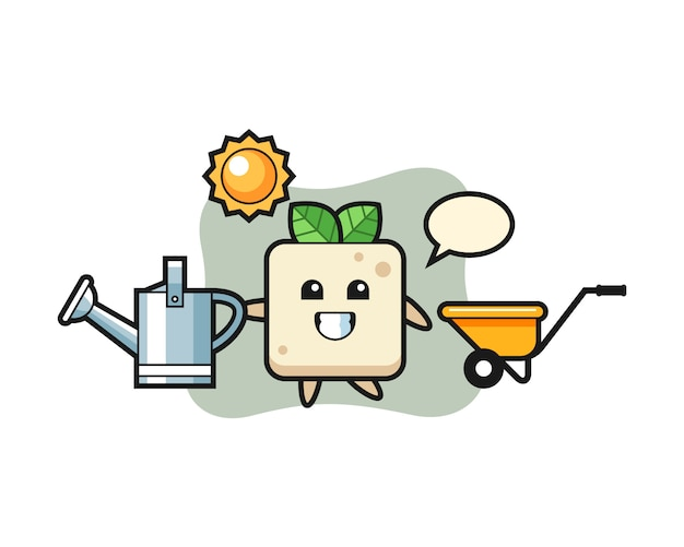 Personaggio dei cartoni animati di tofu che tiene annaffiatoio, design in stile carino per t-shirt