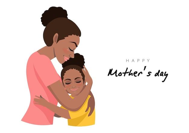 Personaggio dei cartoni animati con abbraccio della figlia e della mamma afroamericana. illustrazione della festa della mamma