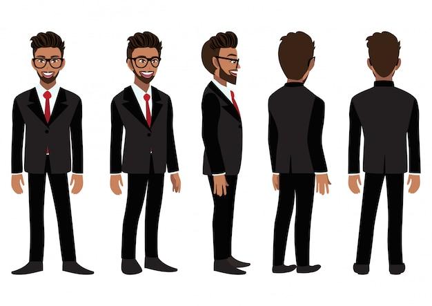 Personaggio dei cartoni animati con uomo d'affari americano africano in un abito nero per l'animazione. anteriore, laterale, posteriore