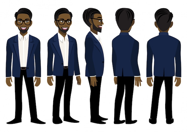 Personaggio dei cartoni animati con l'uomo d'affari americano africano in un abito blu per l'animazione.