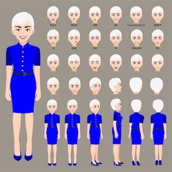 Personaggio dei cartoni animati con donna d'affari in bel vestito per l'animazione. anteriore, laterale, posteriore, 3-4 caratteri di visualizzazione. parti separate del corpo.