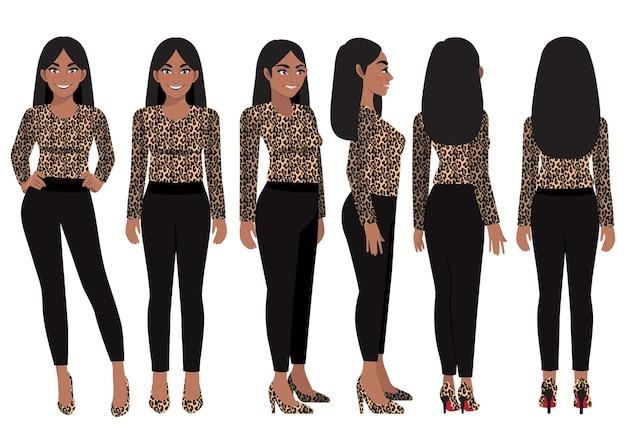 Personaggio dei cartoni animati con donna d'affari in camicia leopardata per l'animazione
