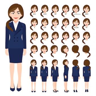 Personaggio dei cartoni animati con donna d'affari in tuta per l'animazione. anteriore, laterale, posteriore, 3-4 caratteri di visualizzazione. parti separate del corpo.