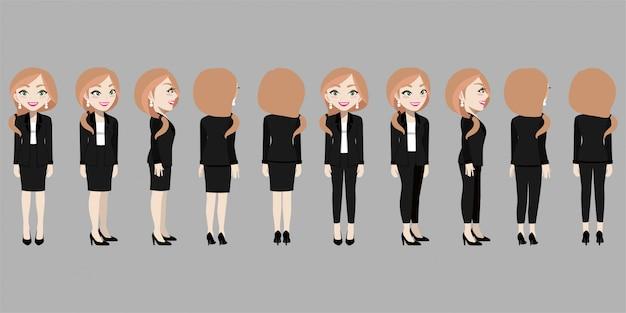 Personaggio dei cartoni animati con donna d'affari in tuta per l'animazione.