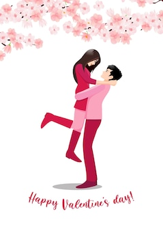 Personaggio dei cartoni animati con una coppia in piedi insieme su sfondo bianco e fiore decorare.