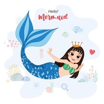 Personaggio dei cartoni animati con simpatica sirena e vita marina
