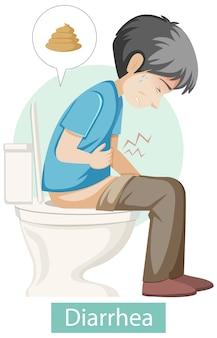 Personaggio dei cartoni animati con sintomi di diarrea