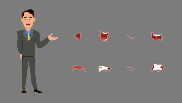 Personaggio dei cartoni animati con set di espressioni facciali diverse. diverse emozioni per l'animazione personalizzata