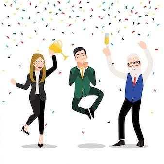 Personaggio dei cartoni animati con uomini d'affari felici. l'illustrazione del concetto di business vincitore