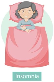 Personaggio dei cartoni animati con sintomi di insonnia
