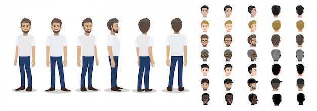 Personaggio dei cartoni animati con un uomo in maglietta bianco casual per l'animazione